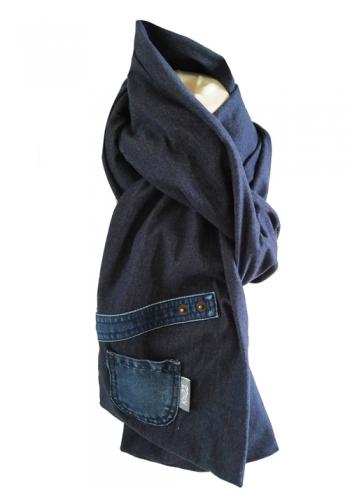 Stoere jeans sjaal met klein zakje Knuzz