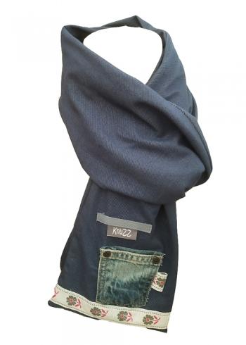 Stoere jeans sjaal met retro band Knuzz