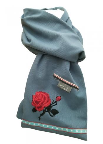 Stoere jeans sjaal met rode roos en sterren Knuzz
