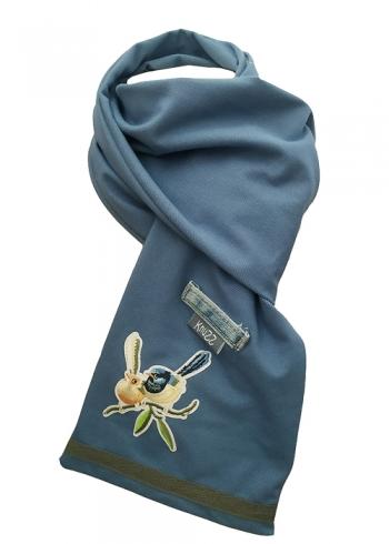 Stoere jeans sjaal met vogel applicatie Knuzz