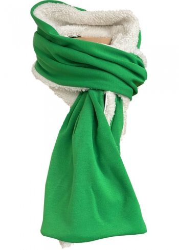 Stoere groene sjaal met teddy